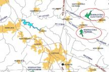 Mapa mostra a localização dos dois reservatórios